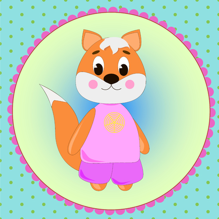 Emblem card with cute cartoon Fox, can be used for wallpaper, design, card, invitation.