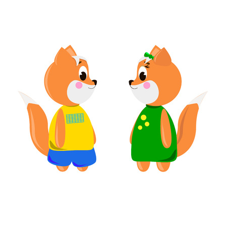 Two cute cartoon Foxs on a white background, can be used for wallpaper, design, card, invitation. Ilustrace