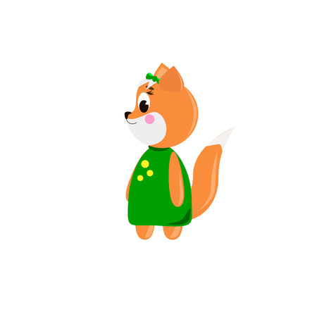 Cute cartoon Fox on a white background, can be used for wallpaper, design, card, invitation. Ilustrace