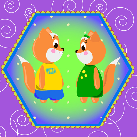 Emblem card with cute cartoon Foxs, can be used for wallpaper, design, card, invitation.