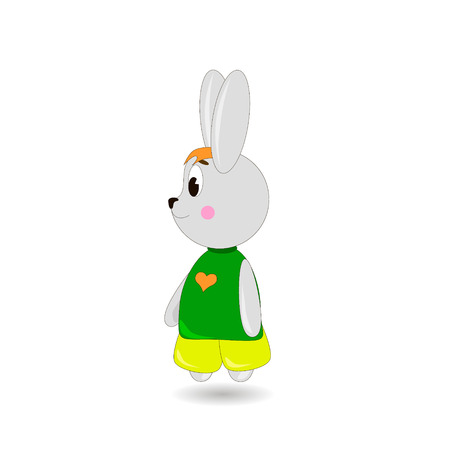 Cute cartoon Rabbit on a white background, can be used for wallpaper, design, card, invitation.