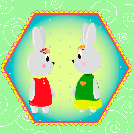 Emblem card with cute cartoon Bunnys, can be used for wallpaper, design, card, invitation.