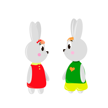 Two cute cartoon Rubbits on a white background, can be used for wallpaper, design, card, invitation. Ilustrace