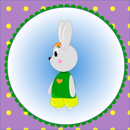 Emblem card with cute cartoon Bunny,  can be used for wallpaper, design, card, invitation.