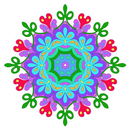 Ornamental round organic pattern, circle colorful mandala with many details on white background, can be used for wallpaper, pattern fills, background,round ornamental natural doily pattern, mandala Ilustrace