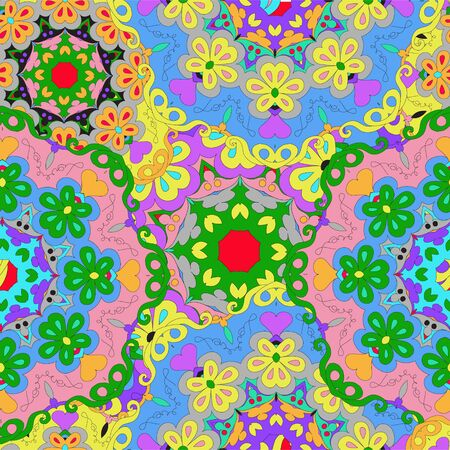 Colorful seamless pattern mandala, can be used for wallpaper, pattern fills, web page background, surface textures. Arabic, India, Islam. Reklamní fotografie - 132404325
