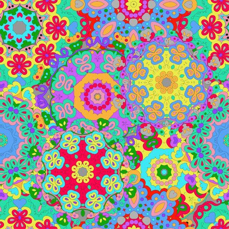 Colorful seamless pattern mandala, can be used for wallpaper, pattern fills, web page background, surface textures. Arabic, India, Islam. Reklamní fotografie - 132404369