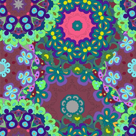 Colorful seamless pattern mandala, can be used for wallpaper, pattern fills, web page background, surface textures. Arabic, India, Islam. Reklamní fotografie - 132404376