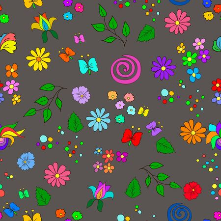 Childrens summer seamless pattern with flowers, leaves, swirls  and butterfly on gray background, can be used for wallpaper, pattern fills, web page background,surface textures. Ilustrace