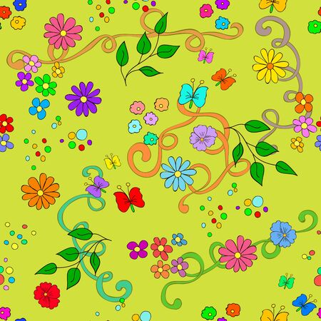 Children's summer seamless pattern with flowers, leaves, swirls  and butterfly on yellow background, can be used for wallpaper, pattern fills, web page background,surface textures.