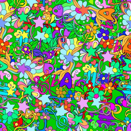 Doodle seamless pattern with flowers and swirls,  notes, scriptural key, letters, can be user a decor, cards, invitation, web design. Reklamní fotografie - 132404403