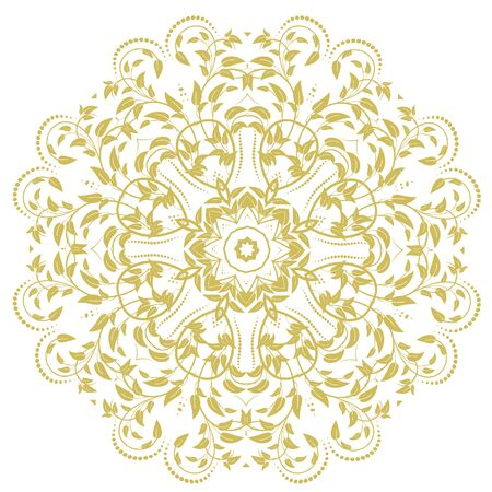 Ornamental round organic pattern, circle colorful  mandala  with many details on white background. Оrnament can be used for wallpaper, pattern fills, background. Happy design Pattern. Arabic, India, Islam, Asia.