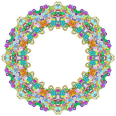Ornamental round organic pattern, circle colorful  mandala  with many details on white background. Оrnament can be used for wallpaper, pattern fills.  Happy design Pattern. Arabic, India, Islam, Asia.