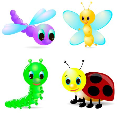 Cartoon caterpillar, ladybird, dragonfly, 3d butterfly on white background, with shadow.