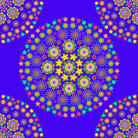 Childrens  summer pattern mandala with flowers, leaves  on black background, can be used for wallpaper, pattern fills, web page background,surface textures.