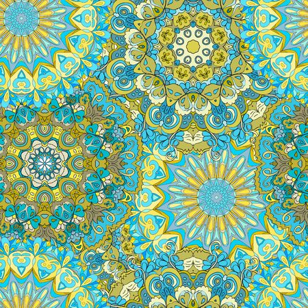 Colorful seamless pattern mandala, can be used for wallpaper, pattern fills, web page background, surface textures.  Happy design Pattern. Arabic, India, Islam, Asia.