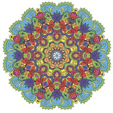Ornamental round organic pattern, circle colorful  mandala  with many details on white background. Оrnament can be used for wallpaper, pattern fills, background,surface textures. Happy design Pattern. Arabic, India, Islam, Asia.