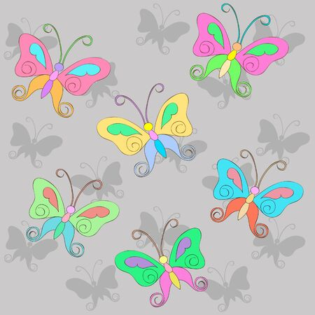Pattern with colorful Butterfly on a gray background with shadow