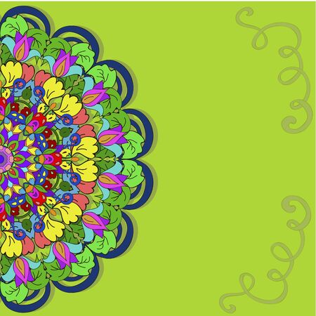 Colorful pattern mandala with swirl, can be used for wallpaper, pattern fills, web page background, surface textures.  Happy design Pattern. Arabic, India, Islam, Asia.