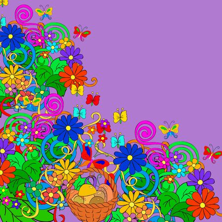 Flat style vector illustration with flowers, swirls,basket, mushrooms and leaves. Bright romantic backgrounds. This image can be used for a greeting card, valentine or the wedding invitation. Happy design pattern.