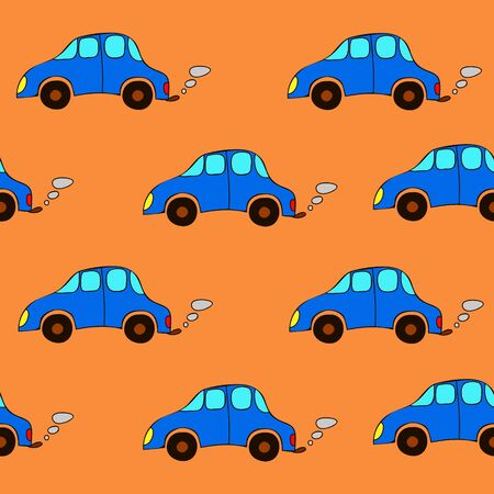 Seamless cartoon cars pattern on a orange background.  Happy baby pattern.