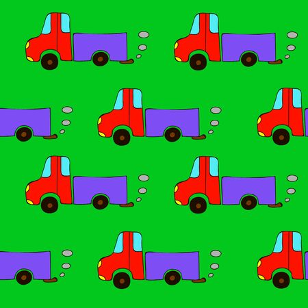Seamless cartoon truck pattern on a green background.  Happy baby pattern. Ilustrace