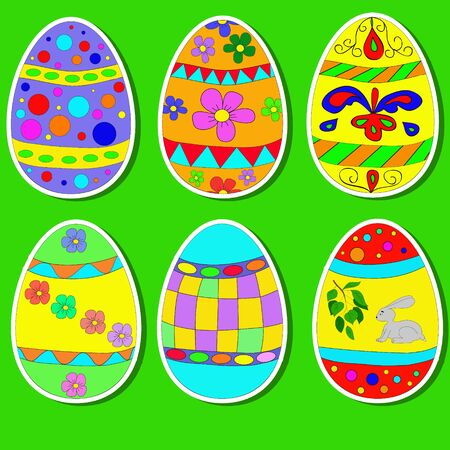 Vector clipart stickers of colorful Easter eggs, can be used for wallpaper, pattern fills, web page background,surface textures, textiles, cards, postcards Ilustrace