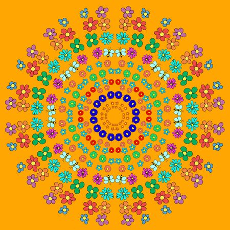 Abstract mandala with flower, curls, bee and leaves on orange background. Can be used as a background, decor, decoupage, textile, invitation, wallpaper, pattern fills, web page background,surface textures