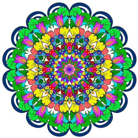 Ornamental round organic pattern, circle colorful  mandala  with many details on white background, can be used for wallpaper, pattern fills, background,surface textures. Happy design Pattern. Arabic, India, Islam, Asia. Иллюстрация