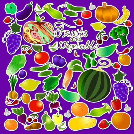 Childrens summer pattern with stickers vegetables and fruits on purple background, can be used for wallpaper, pattern fills, web page background,surface textures.