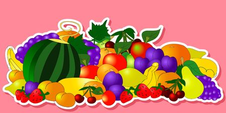 Children's summer stickers with fruits on white background, can be used for wallpaper, pattern fills, web page background,surface textures.