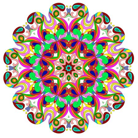 Ornamental round organic pattern, circle colorful  mandala  with many details on white background