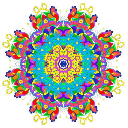 Ornamental round organic pattern, circle colorful  mandala  with many details on white background, can be used for wallpaper, pattern fills, background,surface textures. Happy design Pattern. Arabic, India, Islam, Asia. Ilustrace
