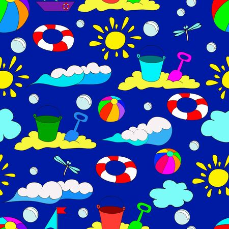 Children's seamless summer pattern with waves, sun, clouds, dragonflies, bubbles, balls and butterflies on blue background, can be used for wallpaper, pattern fills, web page background,surface textures.