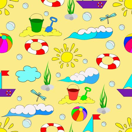 Children's seamless summer pattern with waves, sun, clouds, dragonflies, bubbles, balls and butterflies on yellow background, can be used for wallpaper, pattern fills, web page background, surface textures.