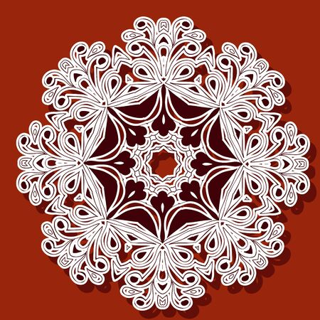 Ornamental round organic pattern, circle background with many details, can be used for wallpaper, pattern fills, background,surface textures. Asia, India, Islam, Stickers. Иллюстрация