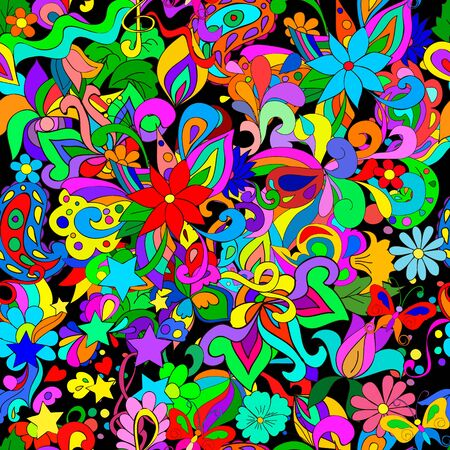 Doodle pattern with flowers and swirls on a black background, can be user a decor, cards, invitation, web design.