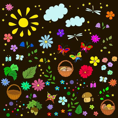 Children's summer pattern with flowers, leaves, mushrooms, sun, clouds, dragonflies, bees, stars and butterflies on black background, can be used for wallpaper, pattern fills, web page background,surface textures.