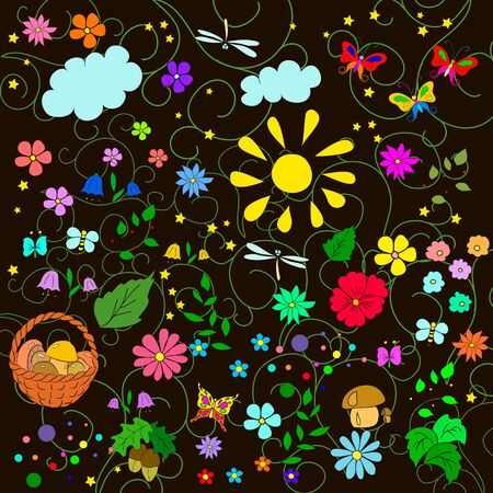 Childrens summer pattern with flowers, leaves, mushrooms, sun, clouds, dragonflies, bees, stars and butterflies on black background, can be used for wallpaper, pattern fills, web page background,surface textures. Ilustrace