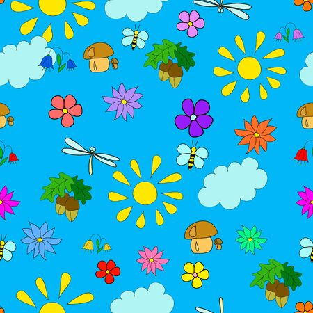 Children's seamless summer pattern with flowers, leaves, mushrooms, sun, clouds, dragonflies, bees, stars and butterflies on blue background, can be used for wallpaper, pattern fills, web page background,surface textures.