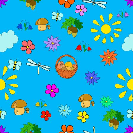 Childrens seamless summer pattern with flowers, leaves, mushrooms, sun, clouds, dragonflies, bees, stars and butterflies on blue background, can be used for wallpaper, pattern fills, web page background,surface textures.