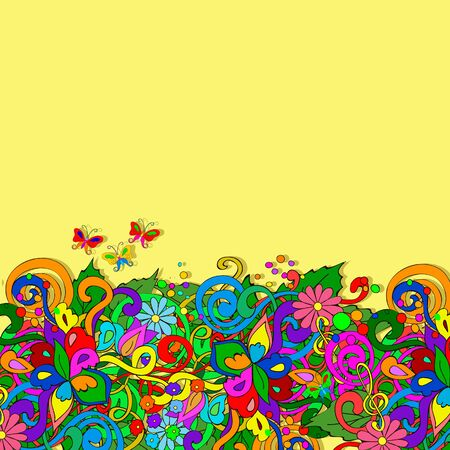 Flat style vector illustration with flowers, butterfly, swirls, stars and leaves. Bright romantic yellow backgrounds. This image can be used for a greeting card, valentine or the wedding invitation. Happy design pattern. Ilustração