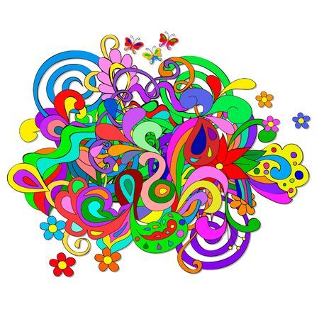 Abstract Summer Doodles with flowers and swirl on a white background. Separate Doodle elements for drawing. You can pick and design on their own. Ilustrace