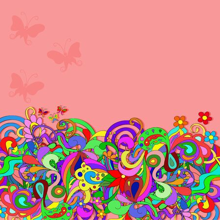 Flat style vector illustration with flowers, butterfly, swirls and leaves. Bright pink romantic backgrounds. This image can be used for a greeting card, valentine or the wedding invitation. Happy design pattern.