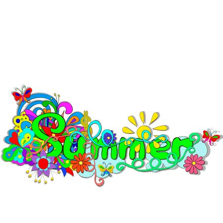 Flat style illustration with letters Summer, Flowers, butterfly, swirls on a white background.Bright romantic backgrounds. Ilustrace