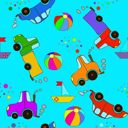 Seamless cartoon car, ball, bubbles, ship, tractor and truck pattern on a blue background. Happy baby pattern.