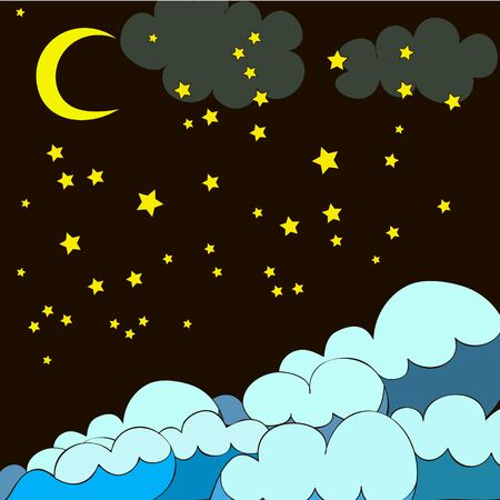 Night pattern with stars, waves, moon on black background, can be used for wallpaper, pattern fills, web page background,surface textures. Banque d'images - 134876386