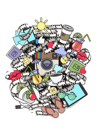 Instagram fashion illustration print, poster, background, sticker. Photo, like, heart, film, food, game, holiday.