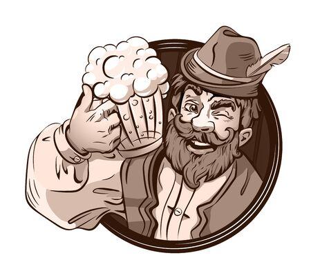Beer drink vector logo, emblem, festival. Bearded man, mug beer. German, Bavarian clothes.