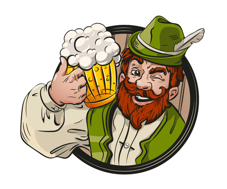Beer drink logo, emblem, festival. Bearded man, mug beer. German, Bavarian clothes. Banco de Imagens